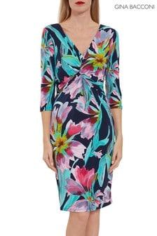 Gina Bacconi Blue Drusilla Floral Jersey Dress