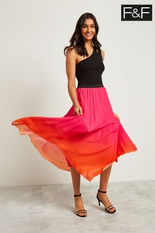 F&F Pink Ombre Pleated Skirt