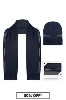 Emporio Armani Baby Boys Navy Cotton & Wool Hat 2 Piece Set