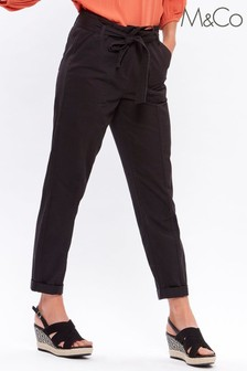 M&Co Black Cargo Paperbag Trousers