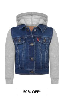 Baby Boys Blue Denim & Jersey Jacket