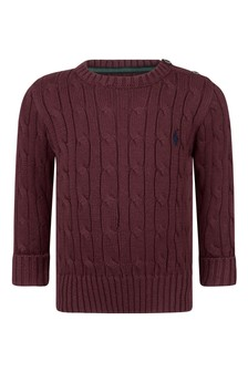 Baby Boys Burgundy Cotton Cable Knit Sweater