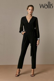 Wallis Black Disco Trim Jumpsuit