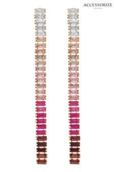 Accessorize Pink Baguette Slinky Drop Earrings