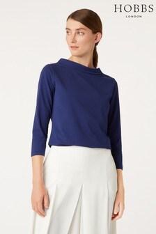 Hobbs Blue 3/4 Sleeve Audrey T-Shirt