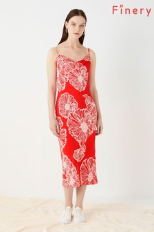 Finery London Red Amela Printed Slip Dress
