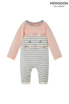 Monsoon Children Pink New Born Baby Anna Knit Sleepsuit