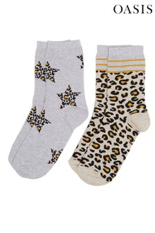 Oasis Leopard Star Socks Two Pack