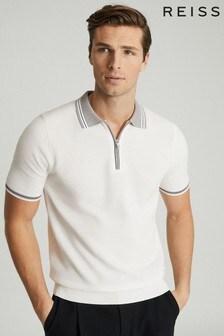 Reiss White Andrew Textured Zip Neck Polo Shirt