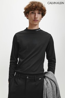 Calvin Klein Black Logo Mock Neck Long Sleeve T-Shirt