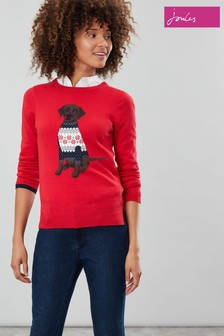Joules Red Miranda Crew Neck Jumper