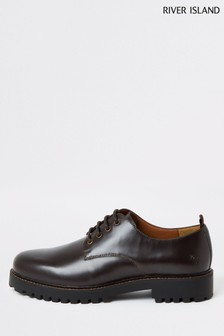 River Island Dark Red Ren Chunky Sole Derby Shoes