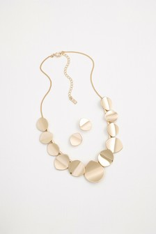 Metal Disc Earring And Necklace Set
