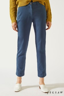 Jigsaw Petrol Blue Luxe Drill Cotton Chinos