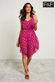 F&F Pink Snake Hanky Hem Dress