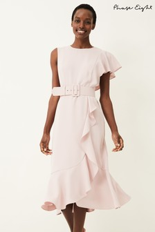Phase Eight Pink Cassie Frill Belted Dress