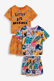 2 Pack Little Big Dreamer Tropical Cotton Short Pyjamas (9mths-12yrs)