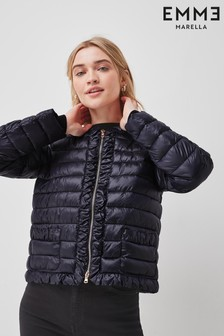 Emme by Marella Navy Ruffle Trim Sonia Padded Jacket