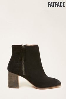 FatFace Black Erin Emboss Detail Ankle Boots