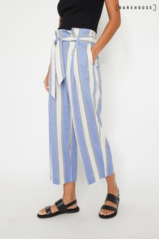 Warehouse Blue Stripe Linen Culottes