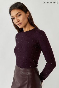 Warehouse Purple Diamanté Embellished Jumper
