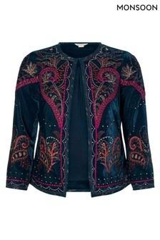 Monsoon Blue Velvet Embroidered Jacket
