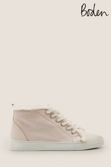 Boden White Shearling High Top Trainers