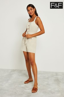 F&F Stone Utility Button Through Playsuit