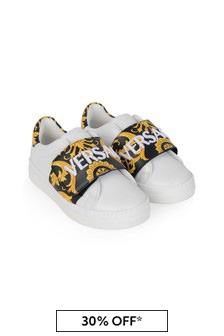 Versace Kids White & Black Baroque Leather Trainers