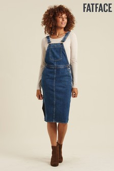 FatFace Blue Ali Denim Midi Pinafore Dress