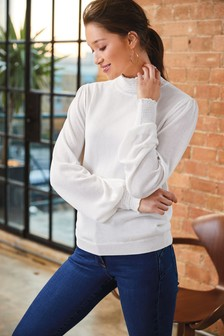 Shirred High Neck Jumper