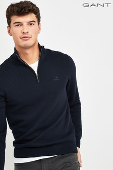 GANT Blue Honeycomb Half Zip Sweater