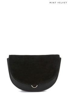 Mint Velvet Sam Black Leather Saddle Bag