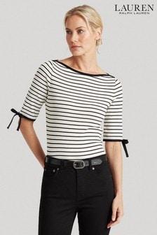 Lauren Ralph Lauren® Black White Stripe Aithley Jersey Top