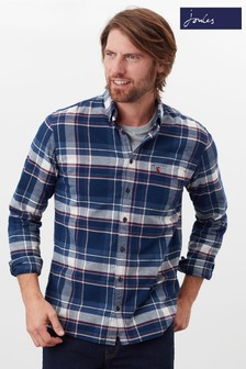 Joules Blue Buchannan Classic Fit Brushed Shirt