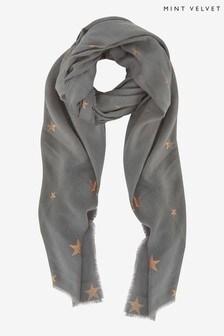 Mint Velvet Grey Star Foil Print Scarf
