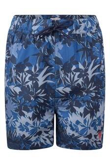 U.S. Polo Assn. Linen Palm Print Swim Shorts