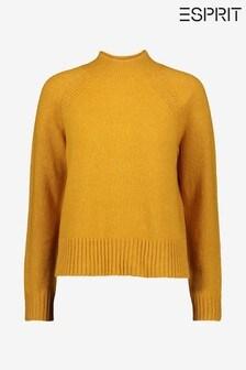 Esprit Yellow Cozy Raglan Sweater With Turtle Neck