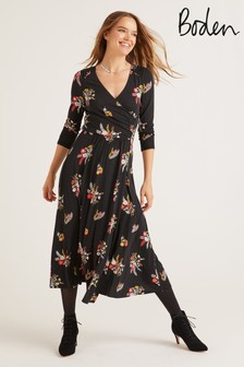 Boden Black Francesca Jersey Midi Dress
