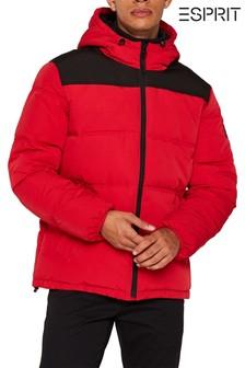Красная утепленная куртка с капюшоном в спортивном стиле Esprit
