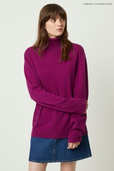 French Connection Purple Cashmere Blend Roll Neck Jumper