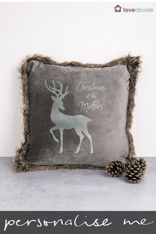 Personalised Stag Faux Fur Cushion by Loveabode
