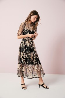 Sequin Floral Mesh Dress