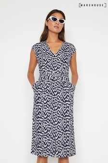 Warehouse Blue Woodgrain Print Midi Dress
