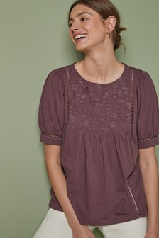 Lace Yoke Short Sleeve Top