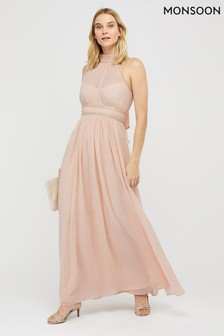 Monsoon Nude Marion Halter Embellished Maxi Dress