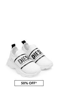 Boys White Logo Slip-On Trainers