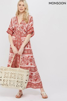 Monsoon Ladies Red Florence Maxi Dress