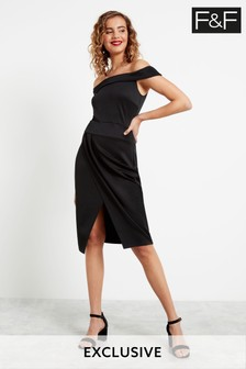 F&F Black Bandeau Midi Dress