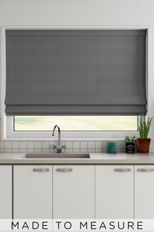 Made To Measure Charcoal Cotton Roman Blind
